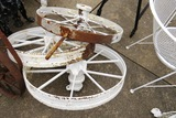 (3) White Metal Wagon Wheels.