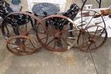 (5) Metal Wagon Wheels.