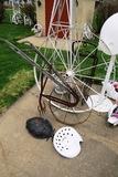 Large White Metal Wheel, Garden Cultivator Metal Seat, Leaf Wall Hanging.