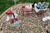 Man, Burrow & Wagon Cart Concrete Statues.