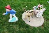 Donkey & Cart Concrete Statue.