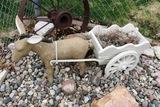 Donkey & Wagon Concrete Statue.