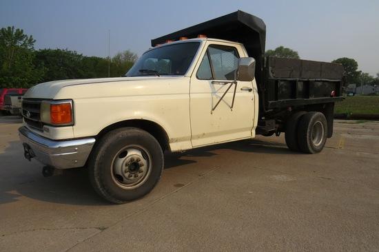 1987 Ford Model F-Super Duty 1-Ton Dually Dump Truck, VIN# 1FDKF3711HKA75650, 6.9 Liter Diesel Engin