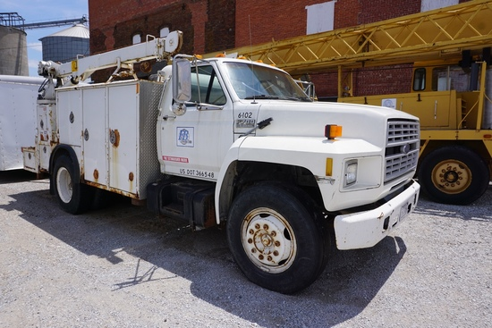 1991 Ford F-700 Single Axle Mechanics Truck, VIN#IFDNK74PMVA02154, Ford Turbo Diesel Eng., 5 & 2 Tra