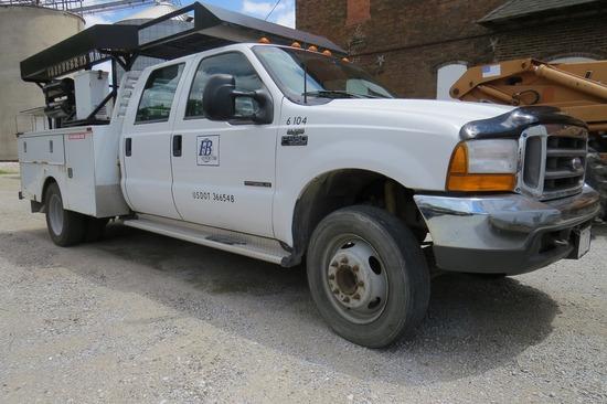 2000 Ford Model F-550 XLT Crew Cab Diesel Dually Mechanics Truck, VIN#IFDAW56FOYEB5167, 7.3 Liter Tu