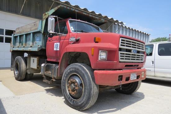 1991 Ford Model F-800 Single Axle Dump Truck, VIN#IFDXK84A7MVA37920, Ford Diesel 6-Cylinder Eng., 5