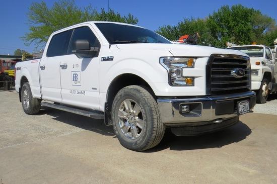 2015 Ford Model F-150 XLT Super Crew Pickup, VN# 1FTFWIEG4FKE30325, 48,470 Act. Miles, 3.6 Liter