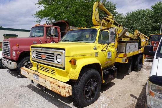 1976 Chevy C65 Single Axle Crane Truck, VIN#CCE676V124485, V-8 Gas Eng., 5 & 2 Trans., Hyd. Brakes,