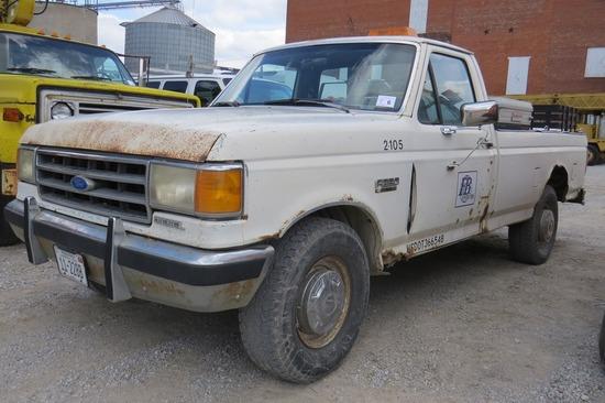 1989 Ford Model F-250 XL 2-WD Pickup, VIN#1FTHF25M9KKA75814, Diesel Engine, 5-Speed Manual Trans., 2