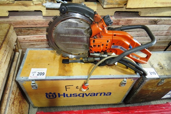 Husqvarna Model K3600 Mark II Gas Powered Concrete Saw with Heavy Duty Wood Case.