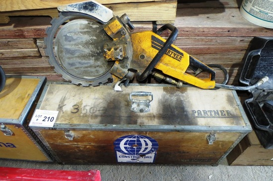 Husqvarna Model K3500 Mark II Gas Powered Concrete Saw with Heavy Duty Wood Case.