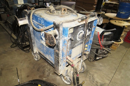 Miller Dialarc 250 AC/DC Welding Power Source with Leads on Heavy Duty Cart, SN #JH244074, Single Ph