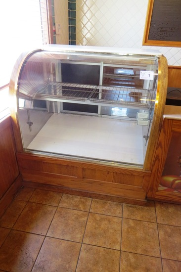 Oak Lighted Refrigerated Pie Cabinet with Curved Glass Front, Rear Sliding
