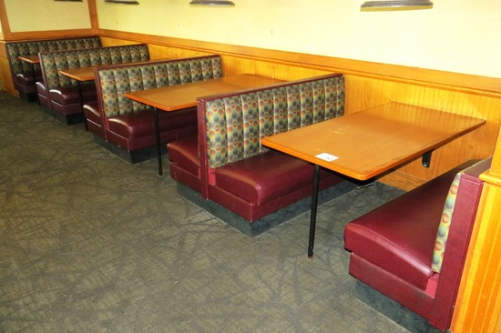 (6) 6-Person Oak Booths with Padded Seats & Backs.