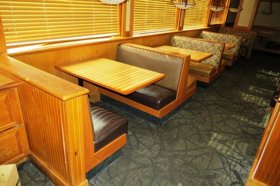 (4) 4-Person Oak Booths with Padded Seats & Backs & (2) 6-Person Booths wit