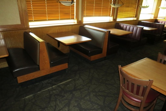 (5) 4-Person Oak Booths with Padded Seats & Backs.
