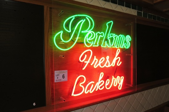 "Neon ""Perkins Fresh Bakery"" Sign."