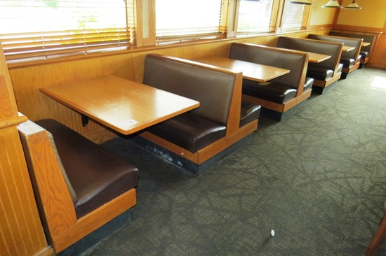 Row of 5 Oak Booths with Padded Backs & Seats.