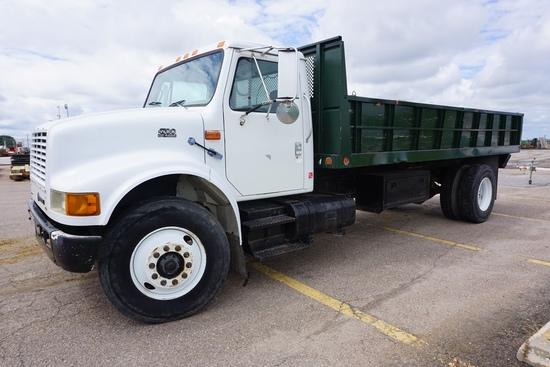 1998 International Model 4700 4x2 Single Axle Dually Flatbed Truck, VIN# 1HTSCAAP1WH521372, DT466E D