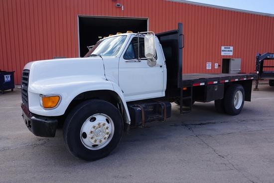 1999 Ford Model F-800 Single Axle Dually Flatbed Truck, VIN# 3FENF80C8XMA00582, 26,000lb. GVW, 183,0
