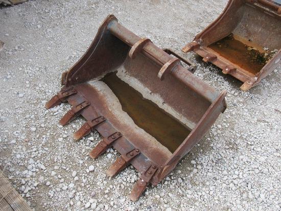 "Bobcat 36"" Bucket with Teeth Attachment for Mini Excavators."