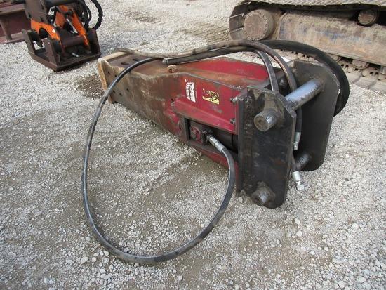 Heavy Duty Hydraulic Concrete Breaker Attachment for Hydraulic Excavators.