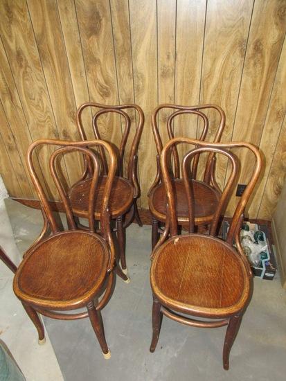 Set of (4) Oak Ice Cream Parlor Chairs (4x Money).