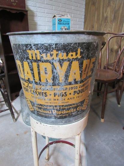 Mutual Dairade Antique Metal Pail.