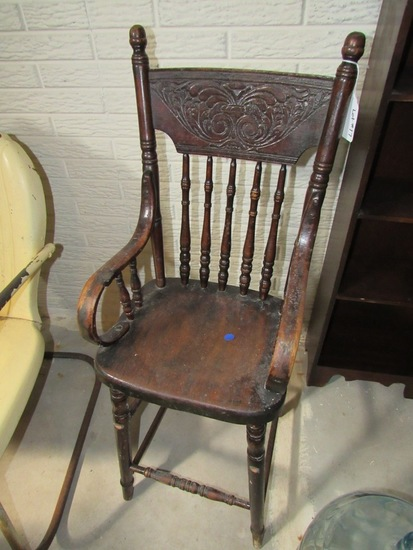 Antique Pressback Oak Baby High Chair.