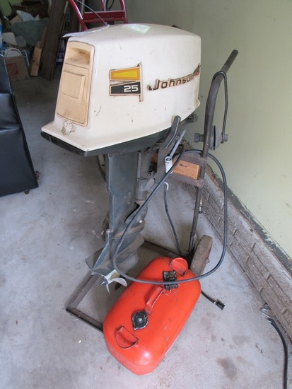 Johnson 25HP Outboard Gas Boat Engine with Stand/Cart & 5 Gallon Gas Can.
