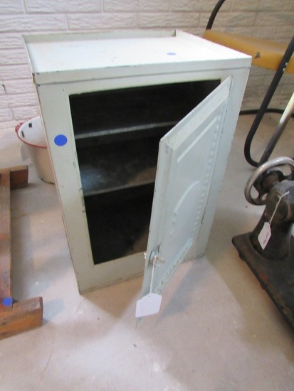 Antique Metal Wall-Mounted Cabinet.