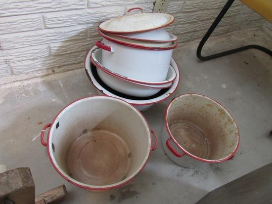 (9) Pieces of Red & White Antique Enamelware Pots, Pans & Pails.