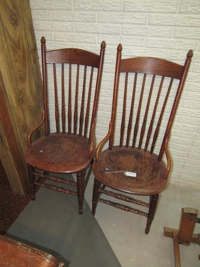 (2) Matching Antique Oak Chairs (2 x Money).