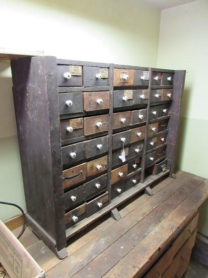 Antique Solid Wood (Oak) Bolt & Fastener Cabinet, 41 Drawers (1 Missing), I