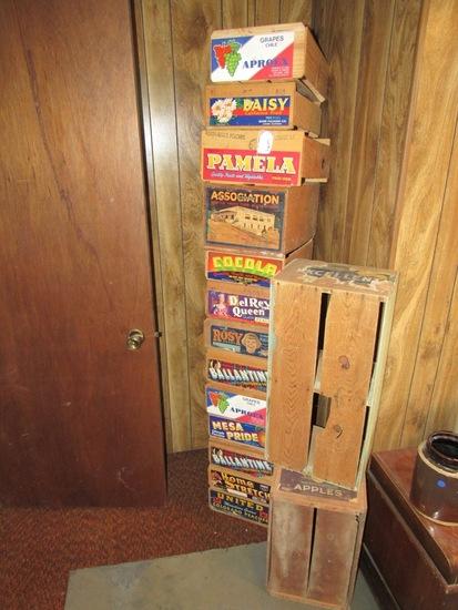 (15) Various Brand Wood Apple Crates.