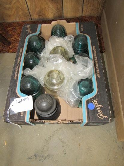 (10) Hemingray Glass Insulators.