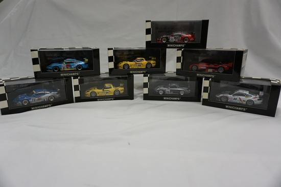 (8) MiniChamps 1:43 Scale Models in Boxes: Panoz Roadster, (5) Porsche 911,