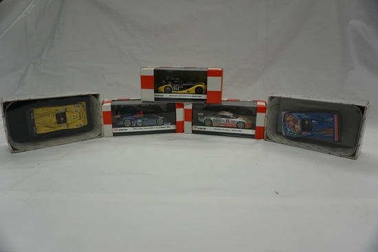 (5) 1:43 Scale Models in Boxes: (2) LeMans - Peugeot & Autoexe Mazda; (3) S