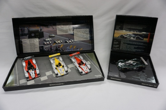 (4) MiniChamps Brand 1:43 Scale Models in Boxes: Bentley Exp Speed 8 in Dis