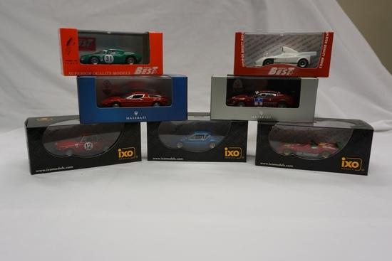 (2) Maserati, (2) Model Best & (3) iXO 1:43 Scale Models in Boxes: Ferrari