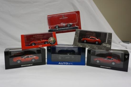 (6) Various Brand 1:43 Scale Models in Boxes: Alfa Romeo, MiniChamps Lambor