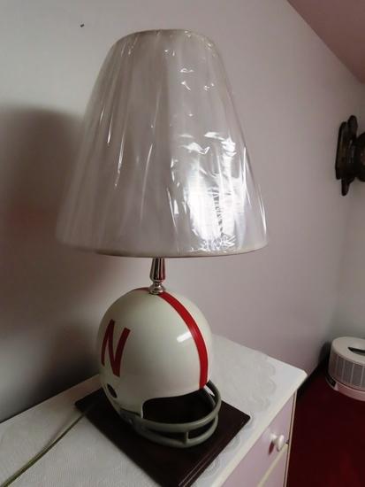 (4) Lamps with Nebraska Helmets (Sell as a Set).
