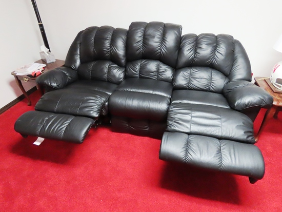 Black Leather Couch (Dual Recliners) & Matching Black Leather Loveseat with Dual Recliners as well.