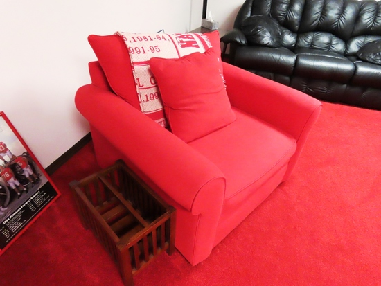 Large Cloth Husker Red Overstuffed Extra Large Chair.