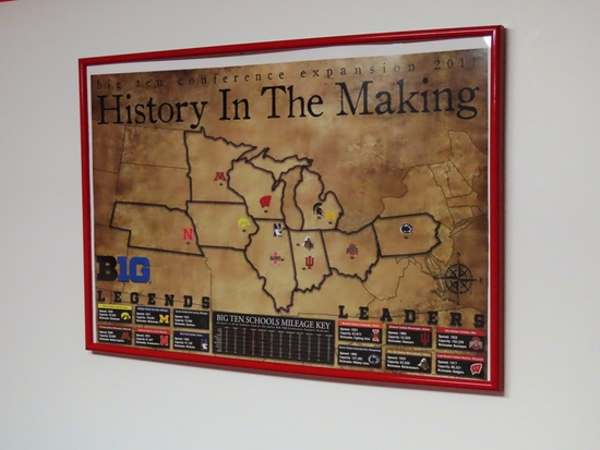 """Big 10 Conference Expansion 2011 Framed Poster """"History in the Making""""."""