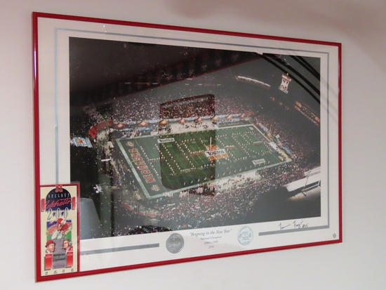 """""""Reigning in the New Year"""" 1994 & 1995 National Champions 25-0 Framed Poster Signed by Tommie Frazie"""