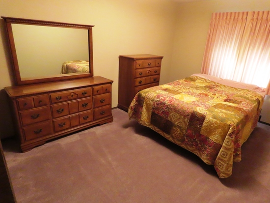 3-Piece Maple Bedroom Set with Double Bed, 9-Drawer Dresser with Mirror & 5-Drawer Chest of Drawers.