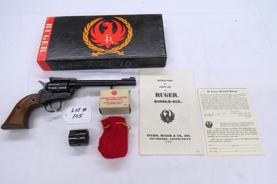 Ruger Model Single Six Convertible Revolver, SN# 60-24097, .22 Long Rifle Caliber w/Extra Magnum Cyl