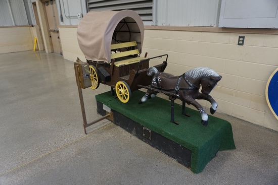 "Coin Operated Children's Horse & Buggy, Says ""Kentucky Lake or Bust""."