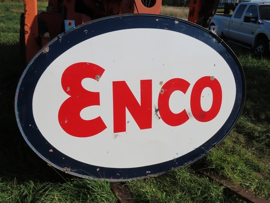 "Enco Porcelain Sign, 88"" wide x 60"" tall."